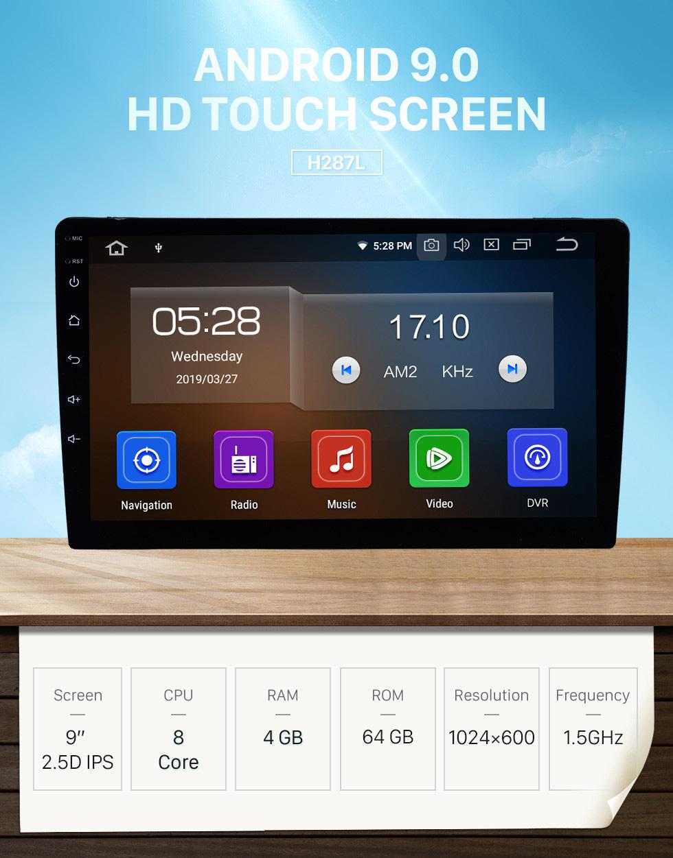 Seicane 9 pouces 1 Din Universel Android 9.0 HD 1024 * 600 Écran Tactile Radio Système de navigation GPS Bluetooth Musique WIFI Audio Lien Miroir Commande Au Volant