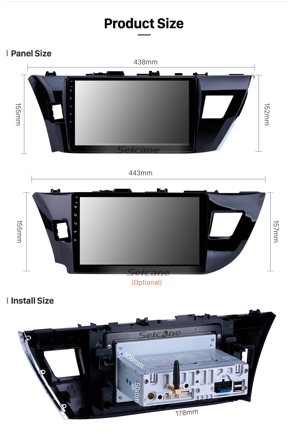Seicane 2013 2014 Toyota COROLLA Android 9.0 Radio DVD player  navigation system Bluetooth HD 1024*600 touch screen Head unit  with OBD2 DVR Rearview camera TV 1080P Video 3G WIFI Steering Wheel Control USB Mirror link