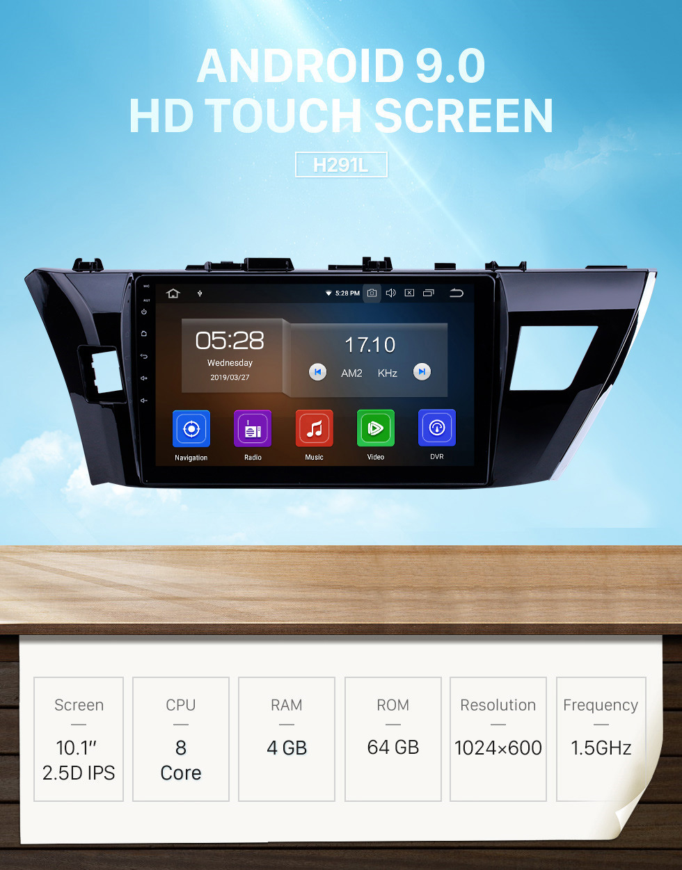 Seicane 10.1 inch 2013 2014 Toyota Corolla Radio Removal with Android 9.0 Autoradio Navigation Car Stereo for 1024*600 Multi-touch Capacitive Screen Bluetooth CD DVD Player 3G WiFi Mirror Link OBD2 Auto A/V MP3 MP4 HD 1080P