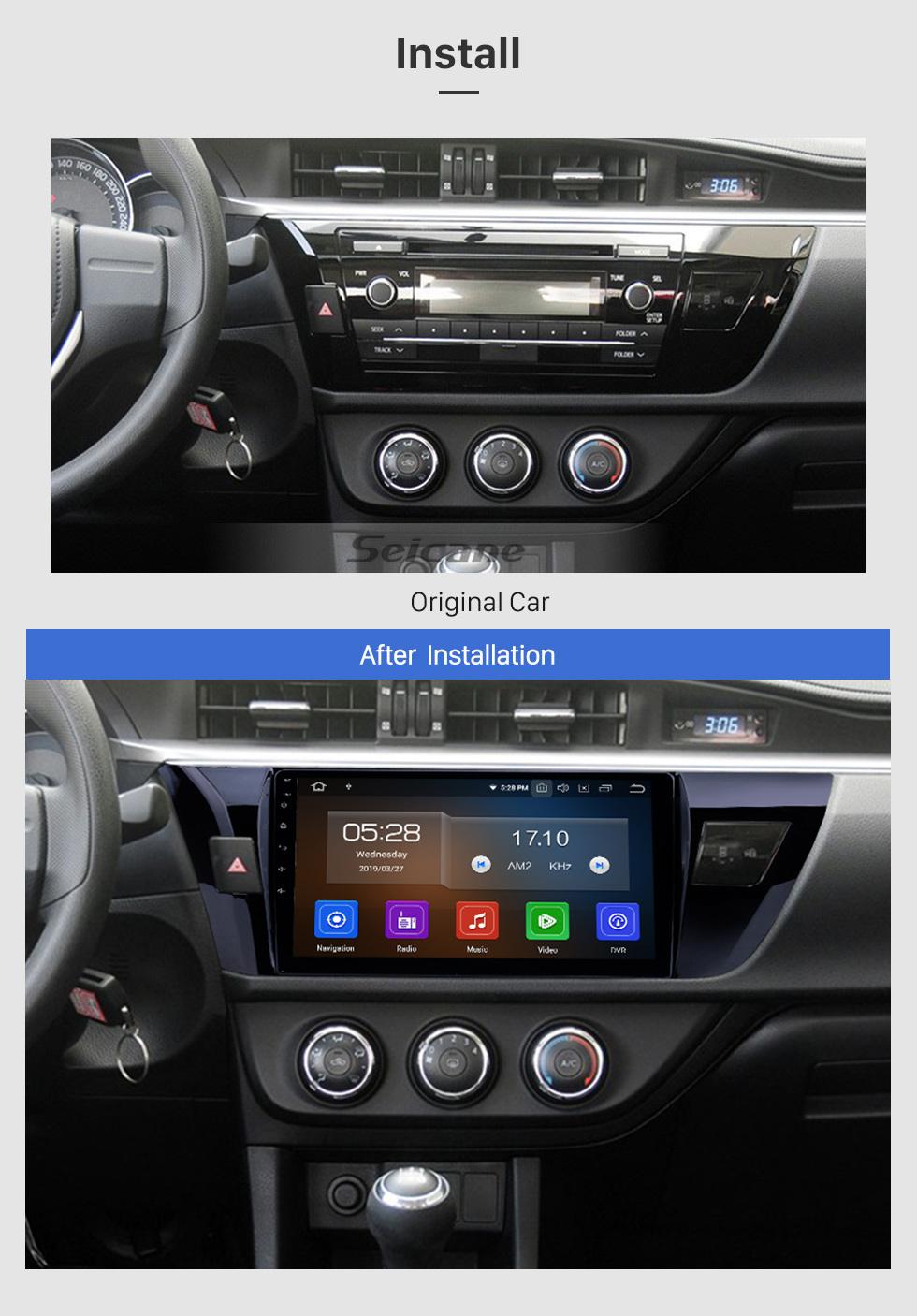 Seicane Android 9.0 10.1 дюймов 2013 2014 2015 Система GPS Toyota Corolla (LHD) с HD 1024 * 600 Сенсорный экран Радио Bluetooth OBD2 DVR камера заднего вида TV 1080P 4G WIFI рулевым управлением USB RDS Зеркало связи