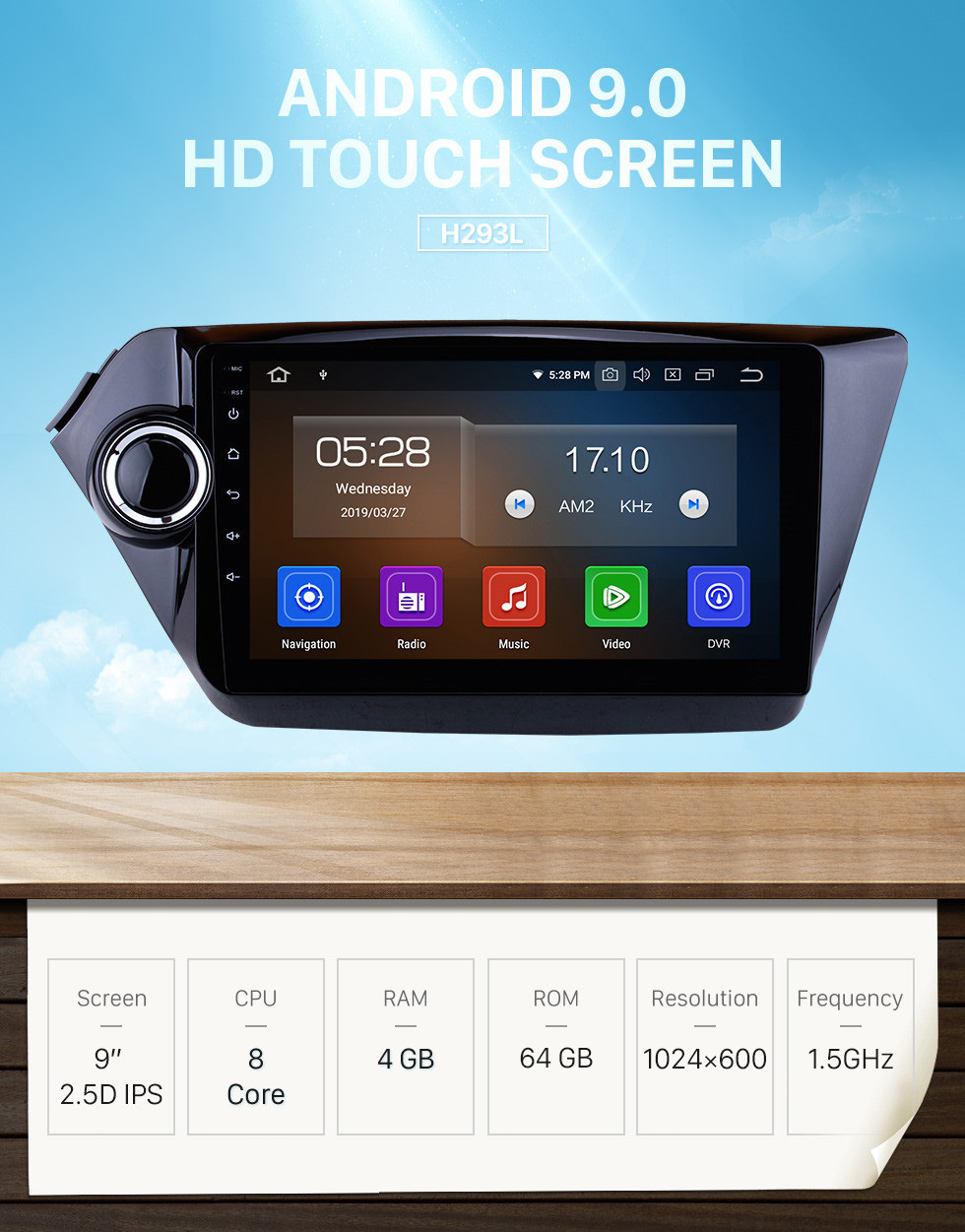 Seicane 9 Inch Aftermarket Android 9.0 Radio GPS Navigation system For 2012-2015 KIA K2 RIO HD Touch Screen TPMS DVR OBD II Steering Wheel Control USB Bluetooth WiFi Video AUX Rear camera