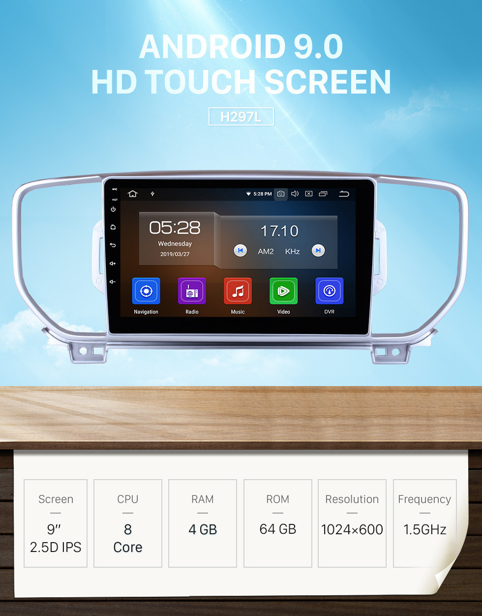 Seicane 9 Inch HD Touchscreen Android 9.0 2016-2018 2019 Kia KX5 Car Stereo Radio Head Unit GPS Navigation Bluetooth Support Steering Wheel Control USB WIFI OBD2 Rearview Camera