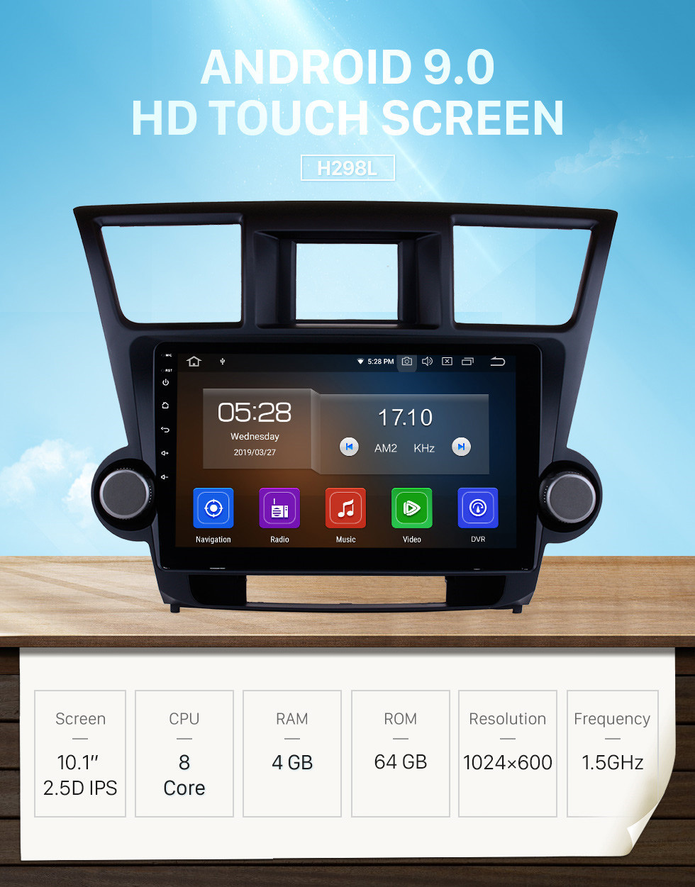 Seicane 10.1 inch HD Touchscreen 2009-2014 Toyota Highlander Android 9.0 GPS Navigation Radio Buletooth Music 4G Wifi Backup Camera WIFI DVR Steering Wheel Control
