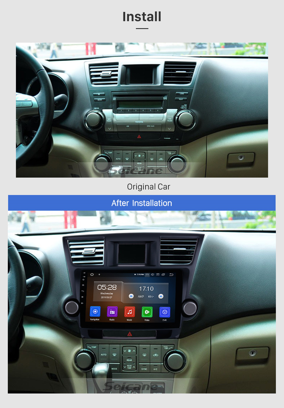 Seicane 10.1 Inch 2009-2015 Toyota Highlander Android 9.0 Capacitive Touch Screen Radio GPS Navigation system with Bluetooth TPMS DVR OBD II Rear camera AUX USB SD 3G WiFi Steering Wheel Control Video