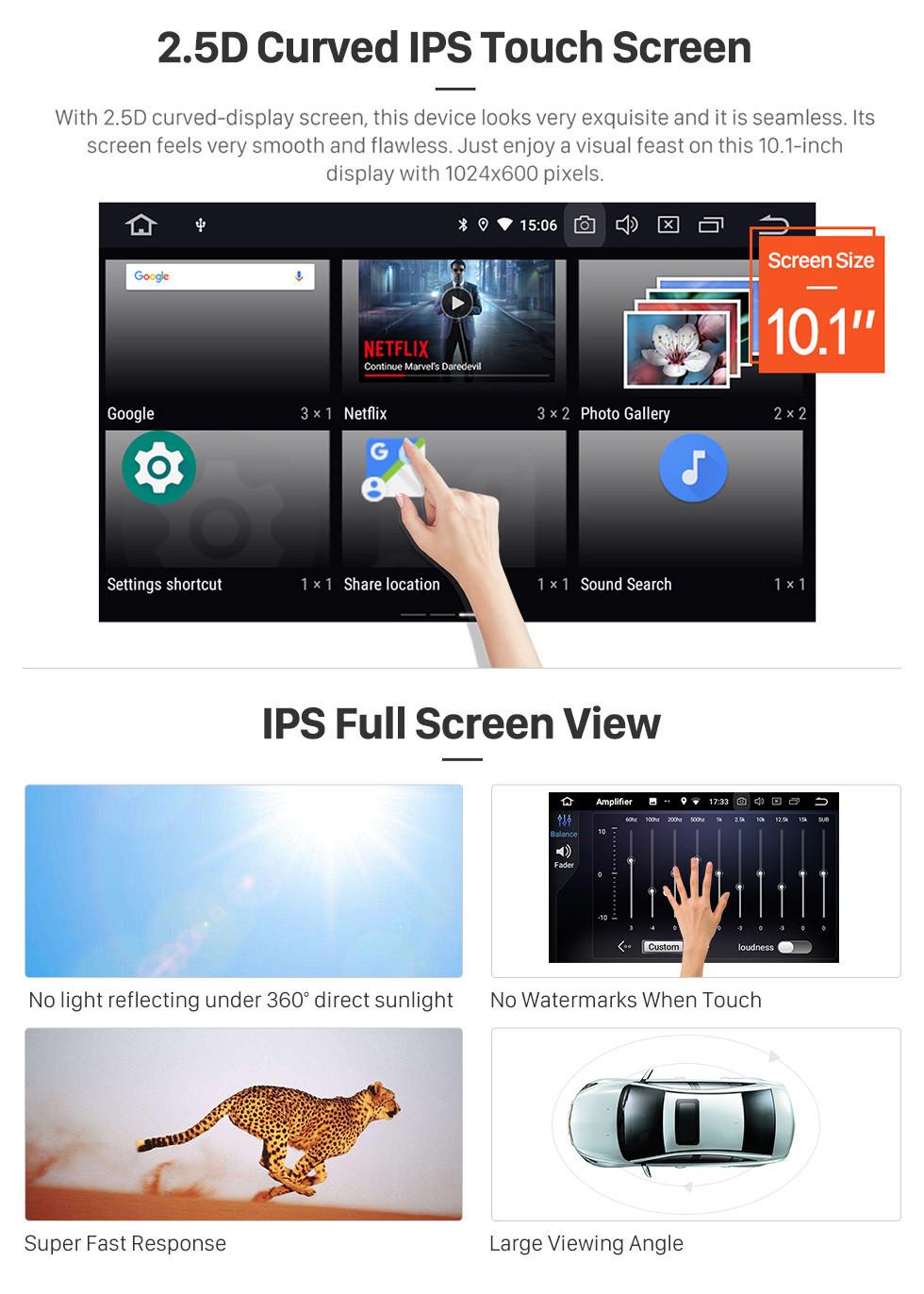 Seicane 10,1-дюймовый Android 9.0 Sat Nav In Автомобильная GPS-система 2009-2014 Toyota Highlander с 3G Wi-Fi AM FM-радио Bluetooth Music Mirror Link OBD2 Резервная камера DVR