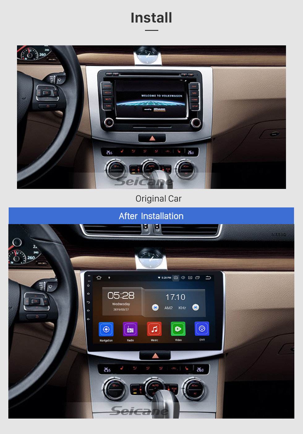 Seicane 10.1 inch 1024*600 touchscreen 2012 2013 2014 VW Volkswagen Magotan Radio Removal with Android 9.0 in Dash GPS Bluetooth Car Audio System 3G WiFi CD DVD Player OBD2 Mirror Link Steering Wheel Control