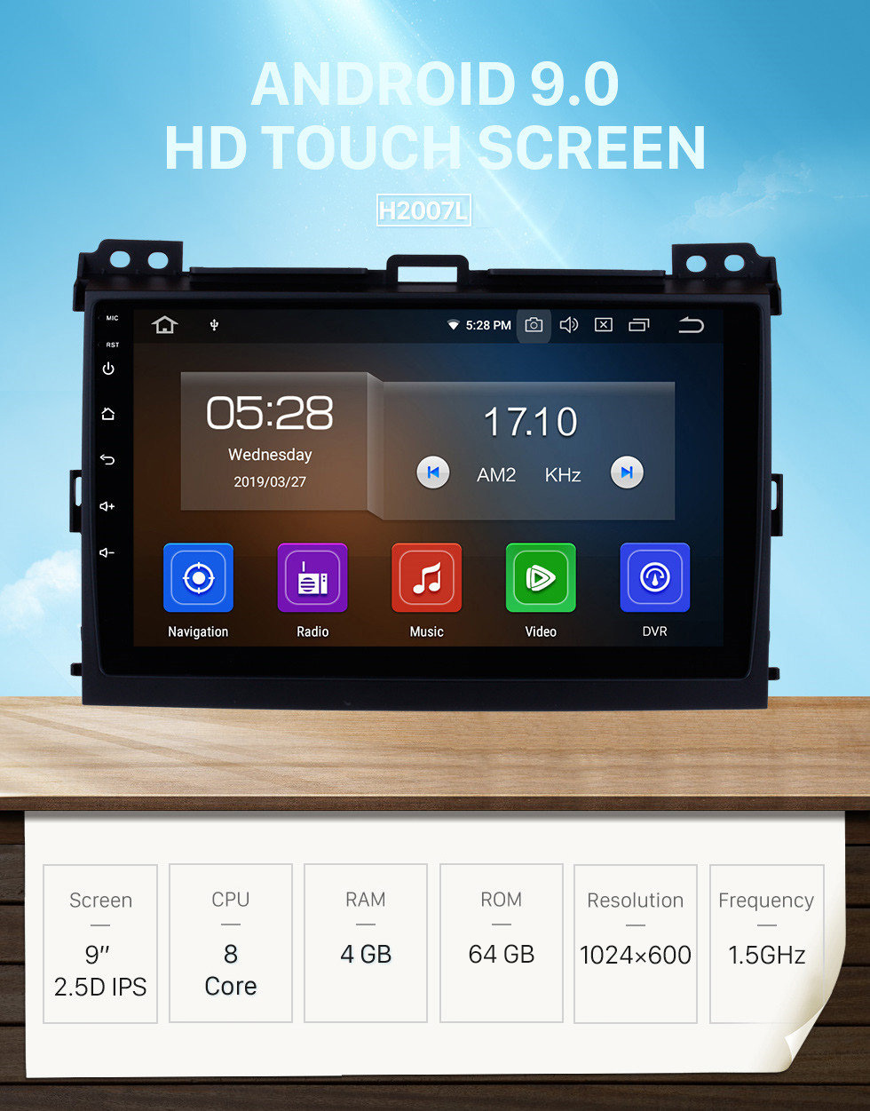 Seicane 2002-2009 Toyota Prado Cruiser Android 9.0 Autoradio DVD Navigation System with 3G WiFi Bluetooth Mirror Link OBD2 Rearview Camera HD 1024*600 Multi-touch Screen
