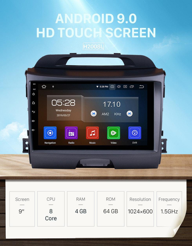 Seicane Android 9.0 9 дюймовый HD 1024 * 600 с сенсорным экраном Автомобильное радио в 2010-2015 годах KIA Sportage GPS-навигация Bluetooth WIFI Поддержка зеркальной связи USB DVR OBD2 4G WiFi Резервная камера управления рулевым колесом
