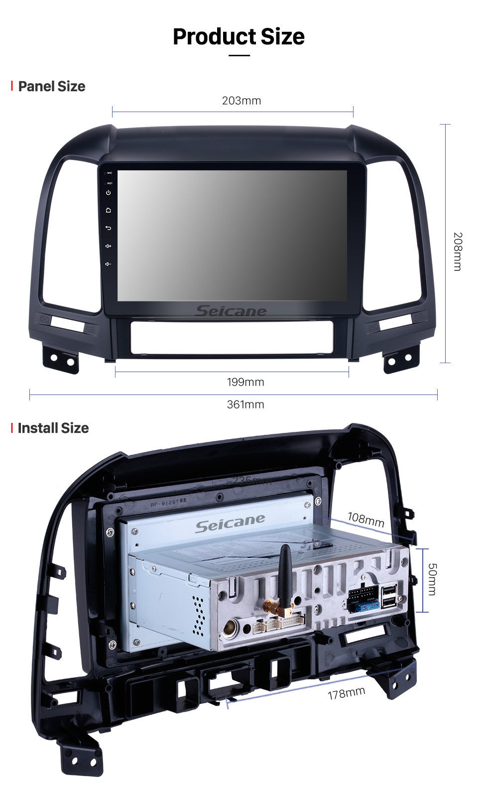 Seicane 2006-2012 Hyundai SANTA FE Mercado de accesorios Android 9.0 HD 1024*600 Pantalla táctil sistema de navegación Radio Bluetooth OBD2 DVR visión trasera cámara TV 1080P Vídeo 3G WIFI Control del volante GPS USB Reproductor DVD