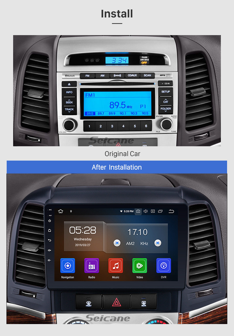 Seicane 2006-2012 Hyundai SANTA FE après marché Android 9.0 HD 1024*600 Ecran tactile système de navigation Radio Bluetooth OBD2 DVR arrière Caméra TV 1080P Vidéo 3G WIFI Contrôle Volant GPS USB SD Lien Miroir  Lecteur DVD