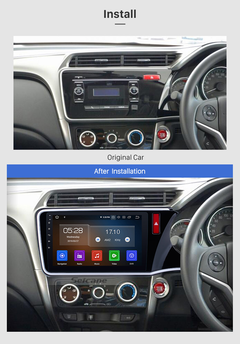 Seicane 10.1 inch Android 9.0 HD Touch Screen radio GPS navigation System for 2014 2015 2016 2017 Honda CITY (RHD) with Bluetooth Music Mirror Link OBD2 3G WiFi Backup Camera 1080P Video AUX Steering Wheel Control