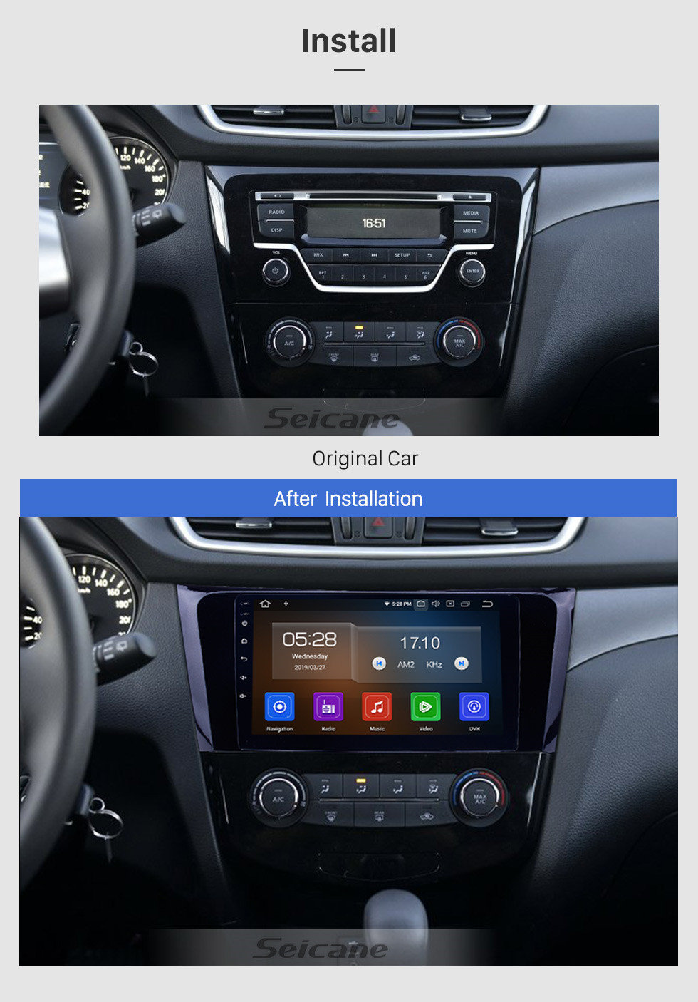 Seicane 9 inch HD touchscreen Radio GPS navigation system Android 9.0 for 2012-2017 NEW Nissan X-TRAIL Qashqai Steering Control Wheel 3G/4G WiFi Audio Bluetooth OBD2