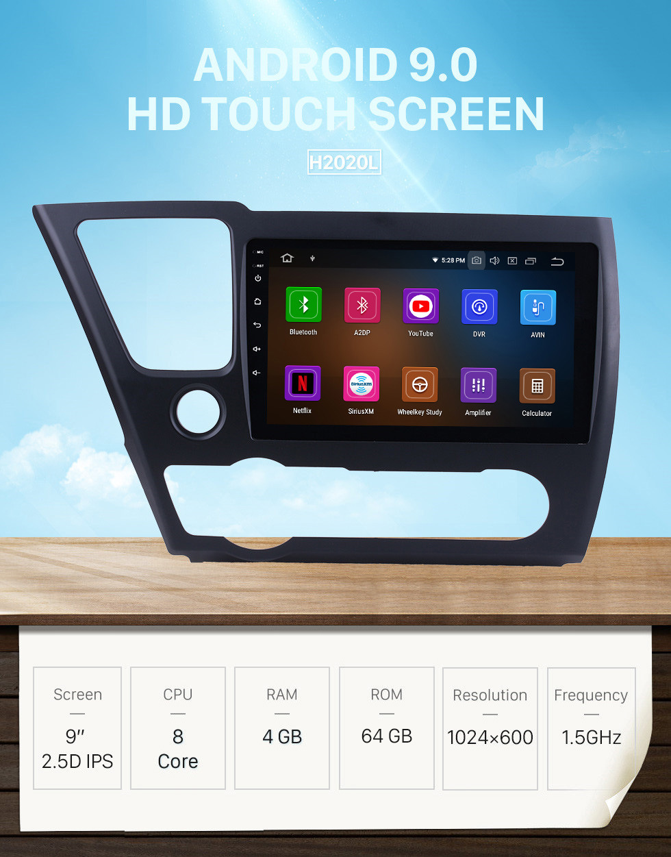 Seicane HD Touchscreen GPS navigation Android 9.0 radio for 2014 2015 2016 2017 Honda Civic (LHD) American Version TV Bluetooth Music Phone USB Carplay WIFI SWC