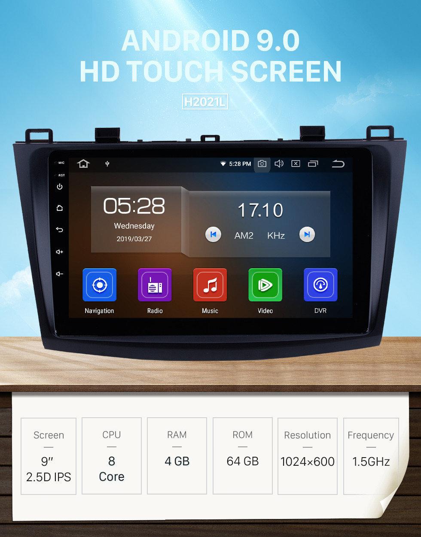 Seicane 9 pouces Android 9.0 GPS Radio navigation pour 2009-2012 Mazda 3 Axela HD écran tactile 1080P Contrôle du volant 3G WIFI OBD2 lien lien miroir caméra de recul