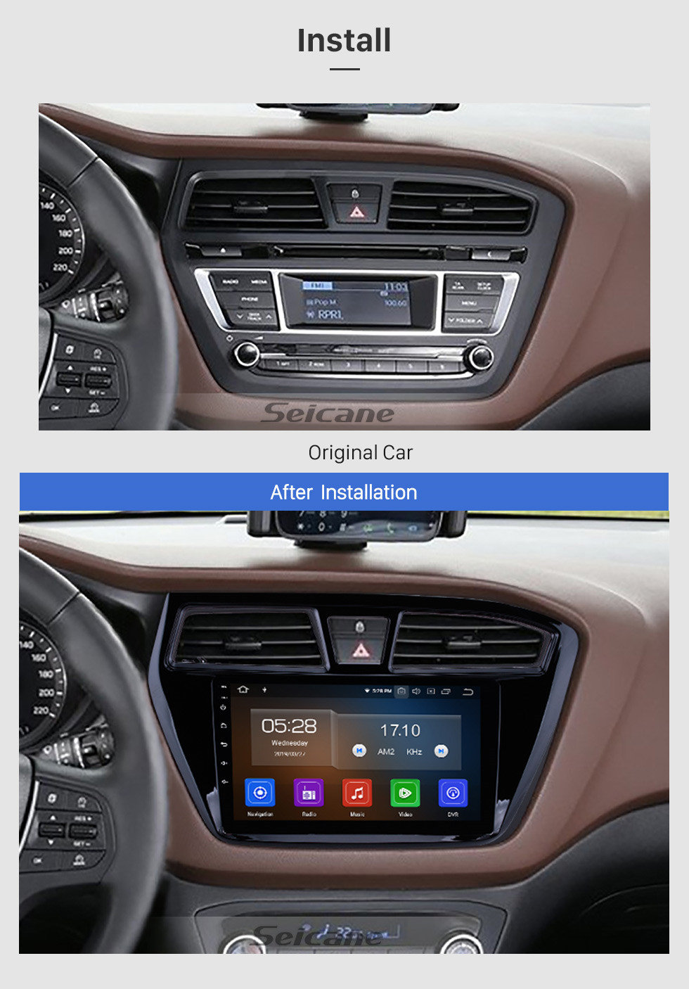 Seicane Aftermarket Android 9.0 navigation system Radio for 2014 2015 Hyundai i20 with Mirror link GPS HD 1024*600 touch screen OBD2 DVR Rearview camera TV 1080P Video 3G WIFI Steering Wheel Control Bluetooth USB SD