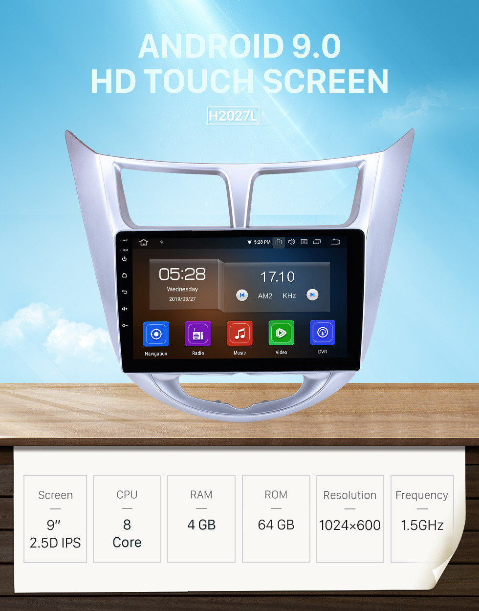 Seicane HD 1024*600 Touchscreen Android 9.0 2011 2012 2013 Hyundai Verna Accent Solaris Blue WIT Radio GPS Navigation System with Bluetooth 4G WIFI Steering Wheel Control USB OBD2 RDS Mirror Link