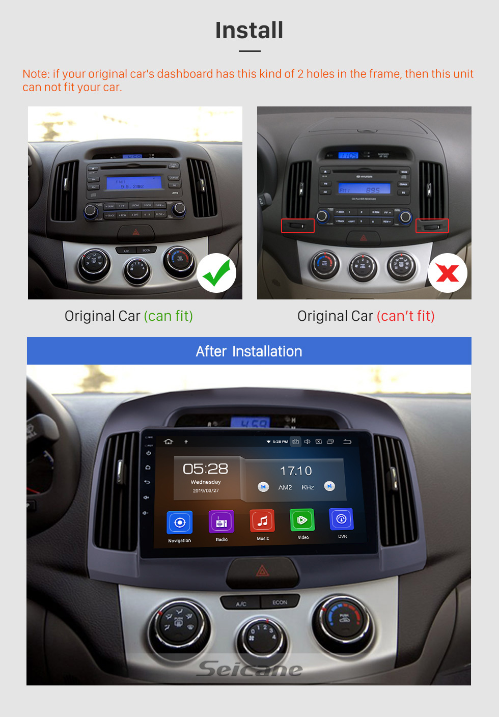 Seicane OEM Upgrade 9 inch Android 9.0 GPS Navigation Radio for 2008 2009 2010 Hyundai Elantra HD Touchscreen WIFI Bluetooth Digital TV SWC FM Carplay USB