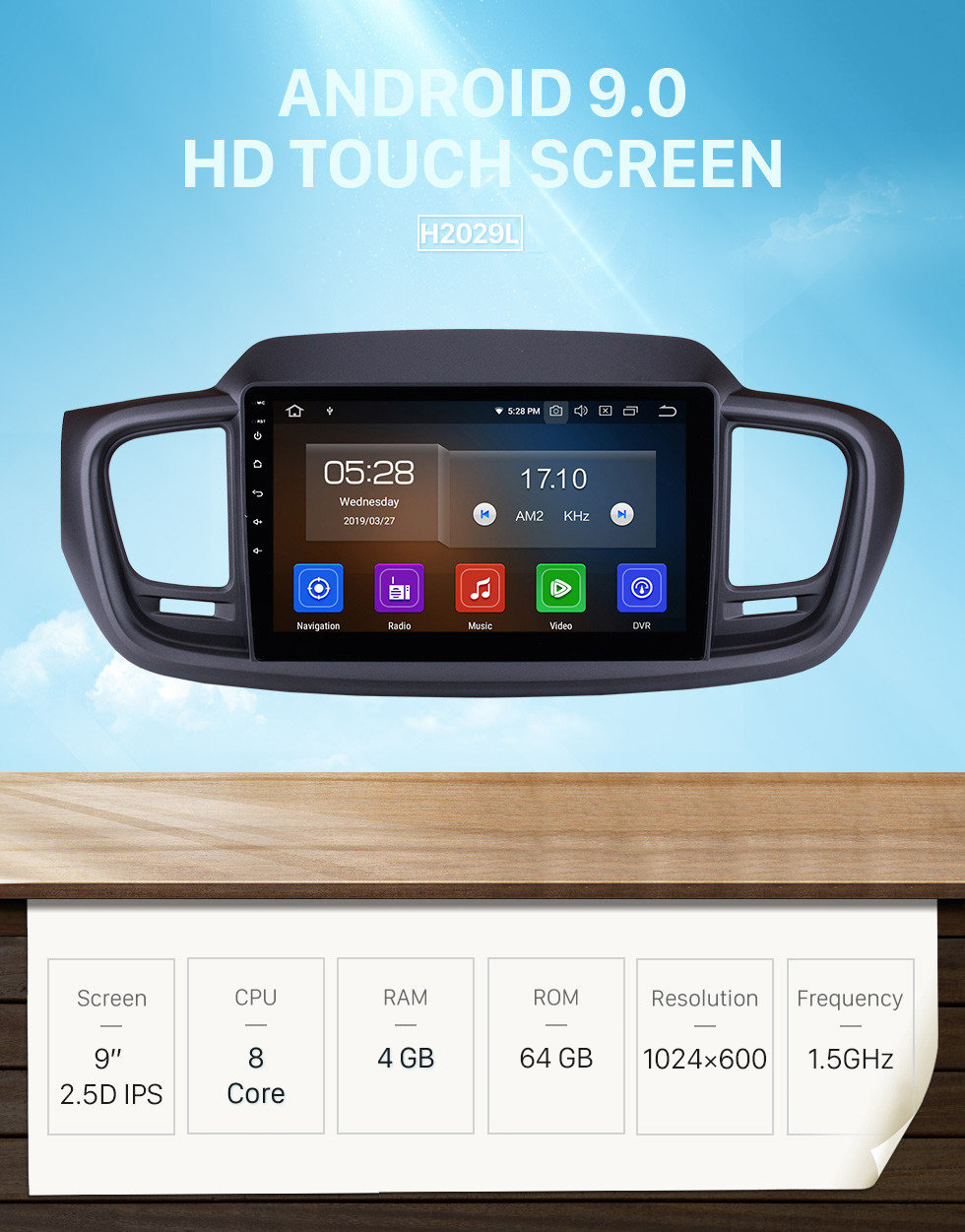 Seicane 9 Inch Android 9.0 GPS navigation system Radio for 2015 2016 Kia Sorento with Mirror link HD 1024*600 touch screen OBD2 DVR Rearview camera TV 1080P Video 3G WIFI Steering Wheel Control Bluetooth USB