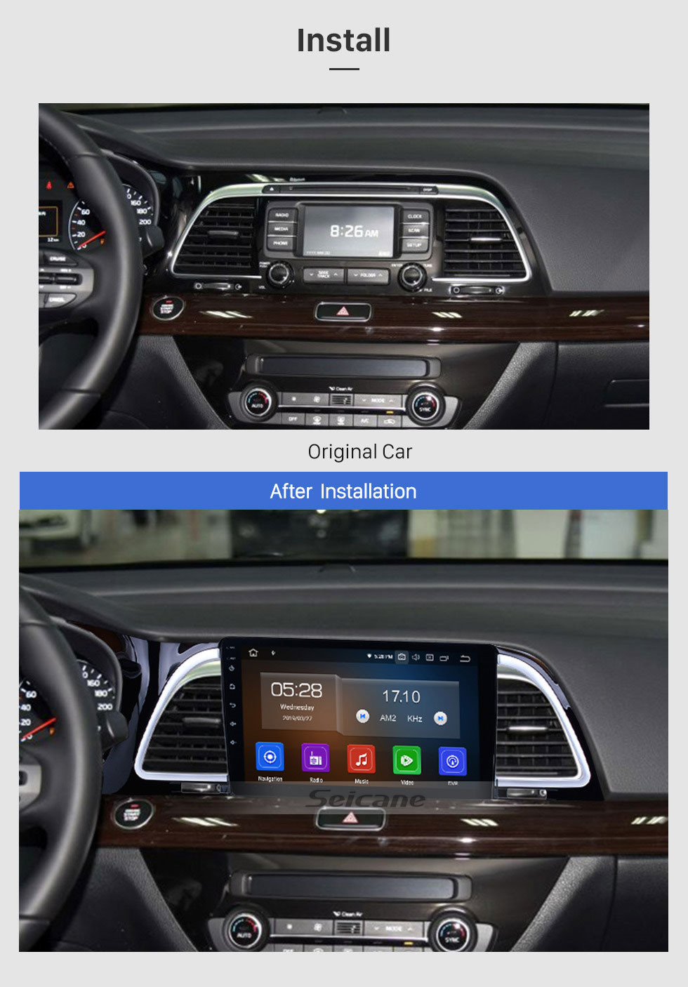 Seicane 9 inch Android 9.0 2014 2015-2018 Kia k4 Cachet Radio GPS Navigation System with HD touchscreen Bluetooth Steering Wheel Control Digital TV Mirror Link Backup Camera TPMS RDS AUX