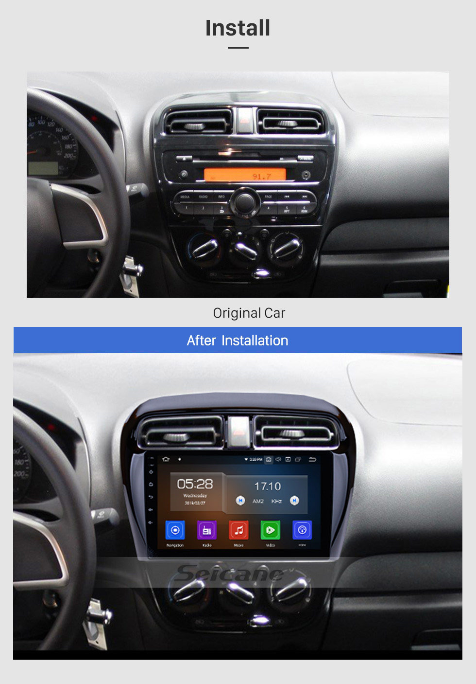 Seicane 2012-2018 Mitsubishi Mirage 9 inch Android 9.0 GPS Navigation Full Touch Screen WiFi FM Radio USB Carplay Bluetooth SWC OBD2 Backup Camera DVR DAB