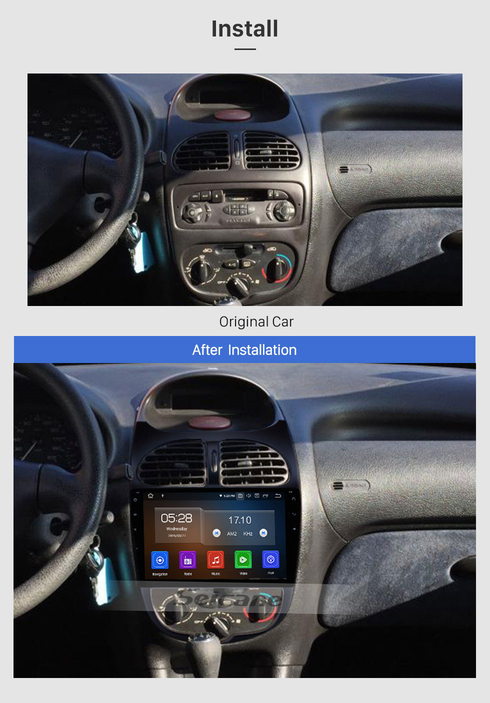 Seicane 9 inch Android 9.0 Touchscreen Autoradio for 2000-2016 PEUGEOT 206 Aftermarket GPS Navigation Bluetooth Music WIFI USB SWC Carplay support CD Player DAB DVR