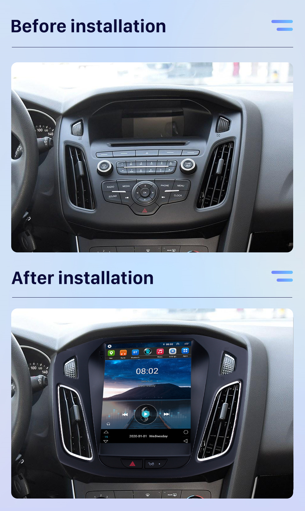 Seicane Android 10.0 2012 2013 2014 2015 Ford Focus 9.7 inch Tesla Style HD Touchscreen Car Stereo Radio Head Unit GPS Navigation Bluetooth Support Steering Wheel Control USB WIFI OBD2 Rearview Camera