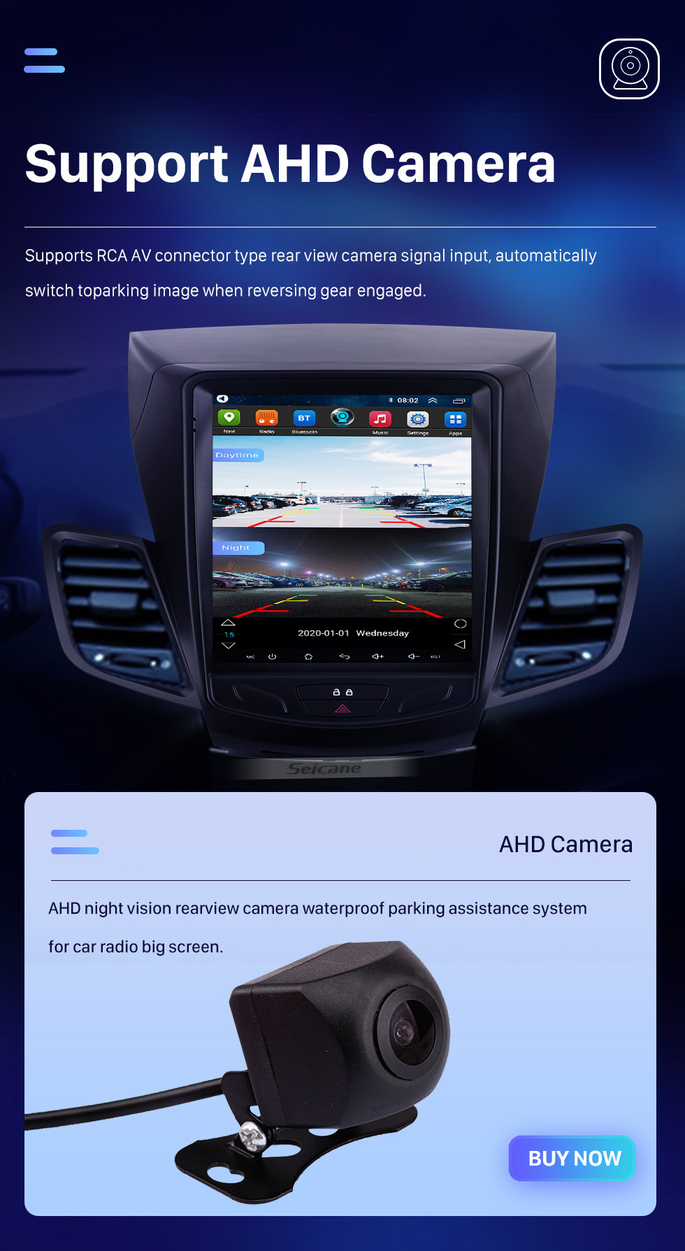 Seicane For 2009-2014 Ford Fiesta 9.7 inch Android 10.0 GPS Navigation Radio with HD Touchscreen Bluetooth WIFI AUX support Carplay Rearview camera
