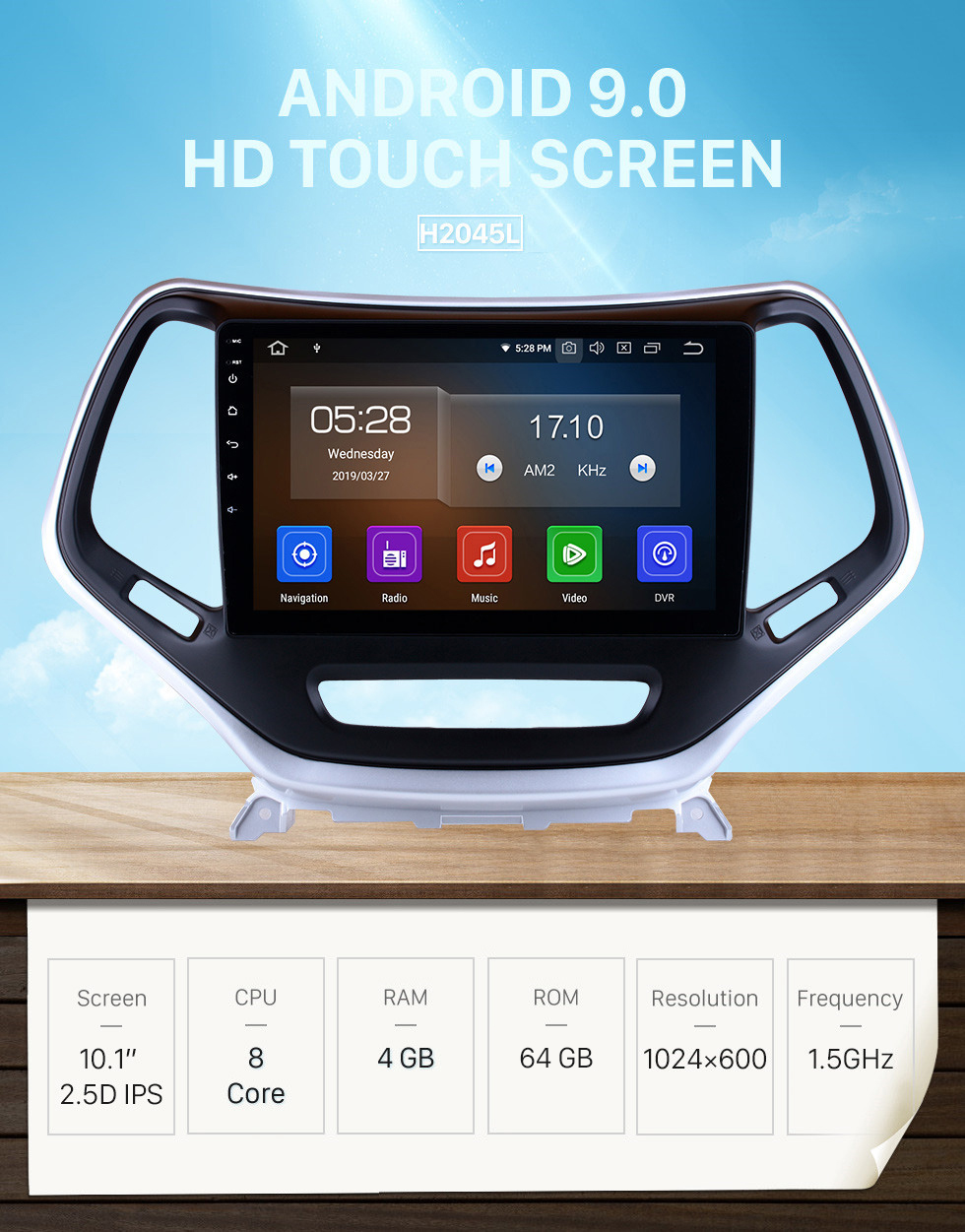 Seicane 10.1 Inch Android 9.0 Touch Screen radio Bluetooth GPS Navigation system For 2016 Jeep Cherokee Jeep grand Cherokee with TPMS DVR OBD II USB 3G WiFi Rear camera Steering Wheel Control HD 1080P Video AUX