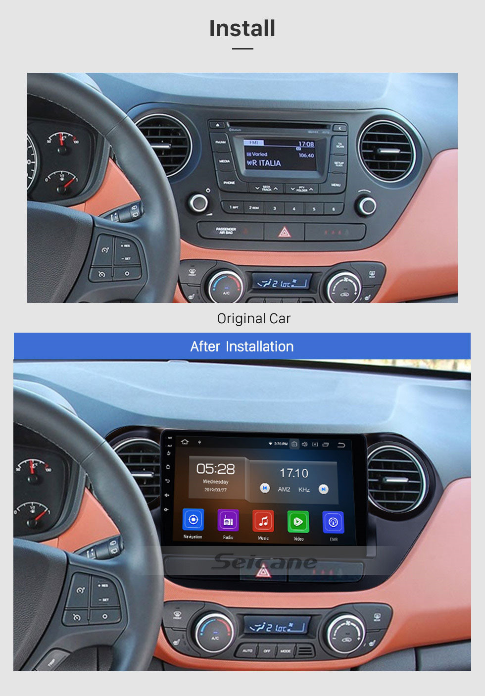 Seicane Android 9.0 9 inch 2013 2014 2015 2016 HYUNDAI I10 Left Hand Driving Radio Bluetooth GPS navigation system HD 1024*600 touch screen OBD2 DVR Rearview camera DVD player TV 1080P Video 3G WIFI Steering Wheel Control USB Mirror link