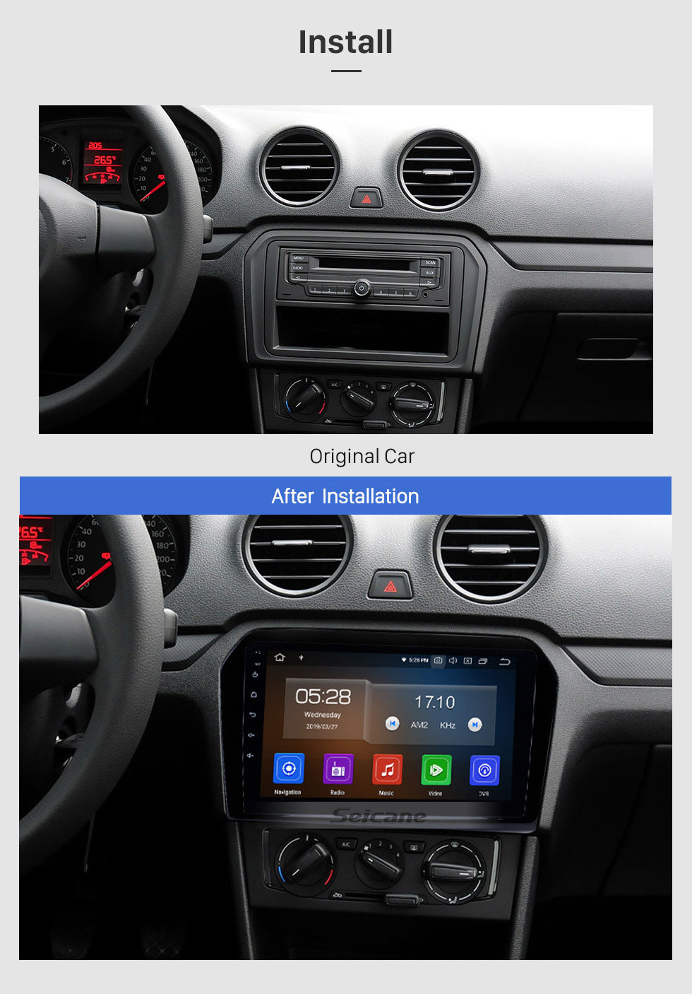 Seicane 9 Inch Android 9.0 HD Touchscreen Radio For 2012 2013 2014 2015 VW Volkswagen Passat JETTA with 3G WiFi GPS Navigation system TPMS DVR OBD II Rear camera AUX USB Video 3G WiFi Bluetooth