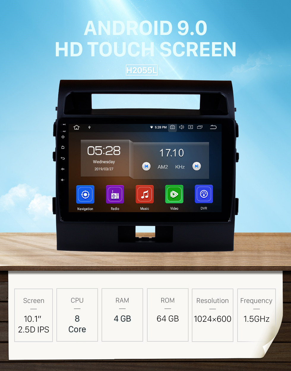 Seicane OEM 10.1 inch HD TouchScreen GPS Navigation System Android 9.0 for 2007-2017 TOYOTA LAND CRUISER Radio Support Car Stereo Bluetooth Music Mirror Link OBD2 3G/4G WiFi Video Backup Camera