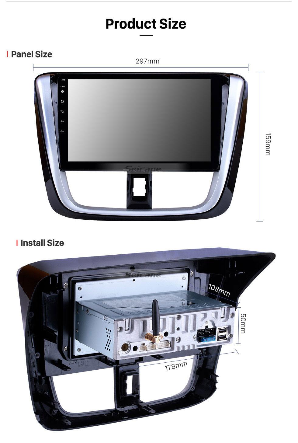 Seicane 10,1 pouces HD Radio tactile Stéréo Système de navigation GPS automatique Android 9.0 Pour 2014 2015 2016 2017 TOYOTA VIOS Soutien Bluetooth OBD II DVR 3G / 4G WIFI Caméra de recul