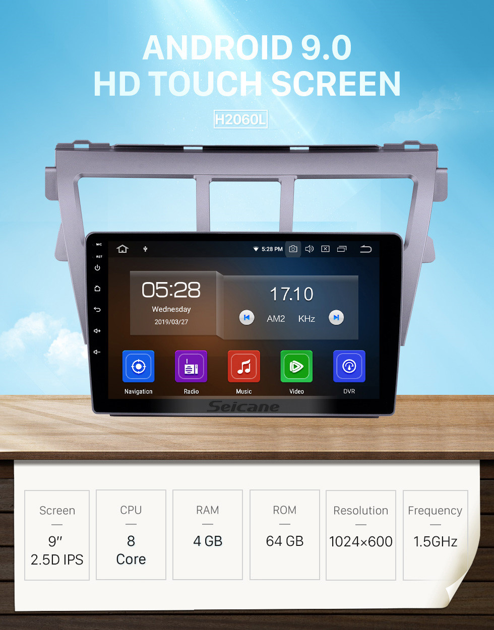 Seicane 9 Inch HD Touchscreen GPS Navigation System Auto stereo 2007-2012 Toyota Vios Android 9.0 Support Car Stereo OBDII  3G/4G WIFI Video Steering Wheel Control DVR