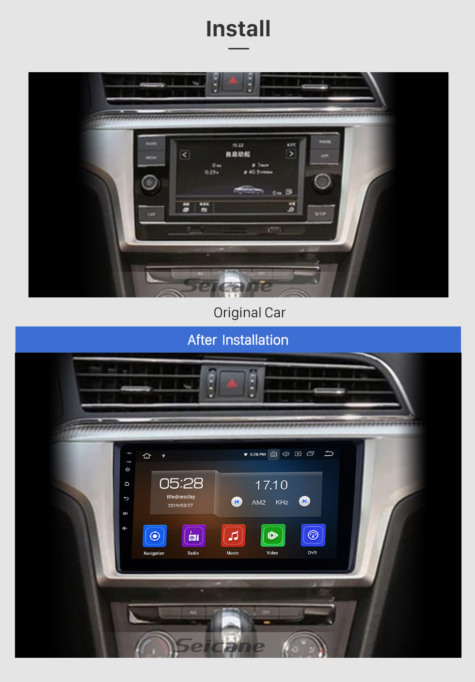 Seicane OEM 9 inch HD Touchscreen GPS navigation system Android 9.0 for 2018 VW Volkswagen Universal Support 3G/4G WiFi Radio Bluetooth Vedio Carplay Steering Remote Control