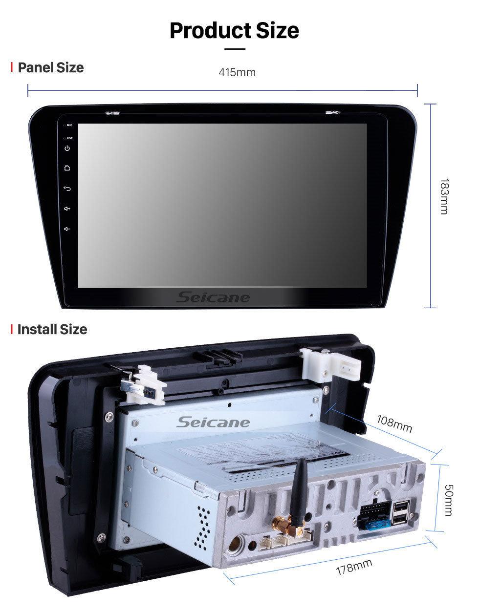 Seicane 10,1-дюймовый HD-сенсорный экран GPS-навигационная система Android 9.0 для 2015 2016 2017 SKODA Octavia Поддержка рулевого управления Резервная камера Bluetooth 3G / 4G WIFI USB DVR OBD2