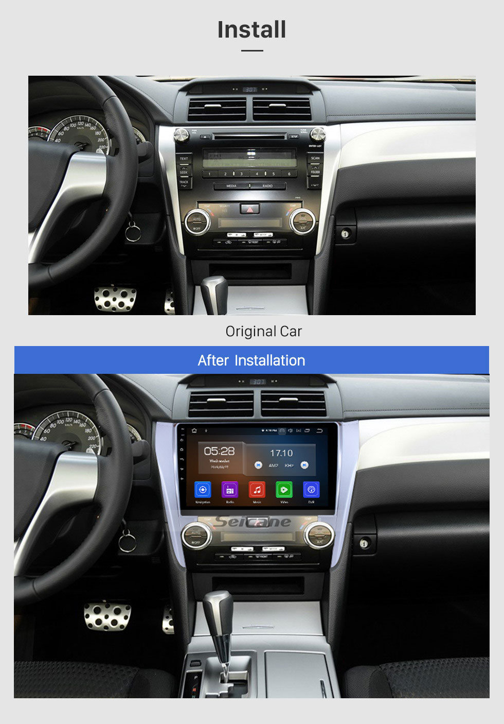 Seicane 10.1 inch Android 9.0 head unit GPS  navigation system for 2012 2013 2014 2015 Toyota  CAMRY Bluetooth Radio support DVD player Mirror link Capacitive multi-touch screen OBD DVR Rear view camera TV 3G WIFI USB