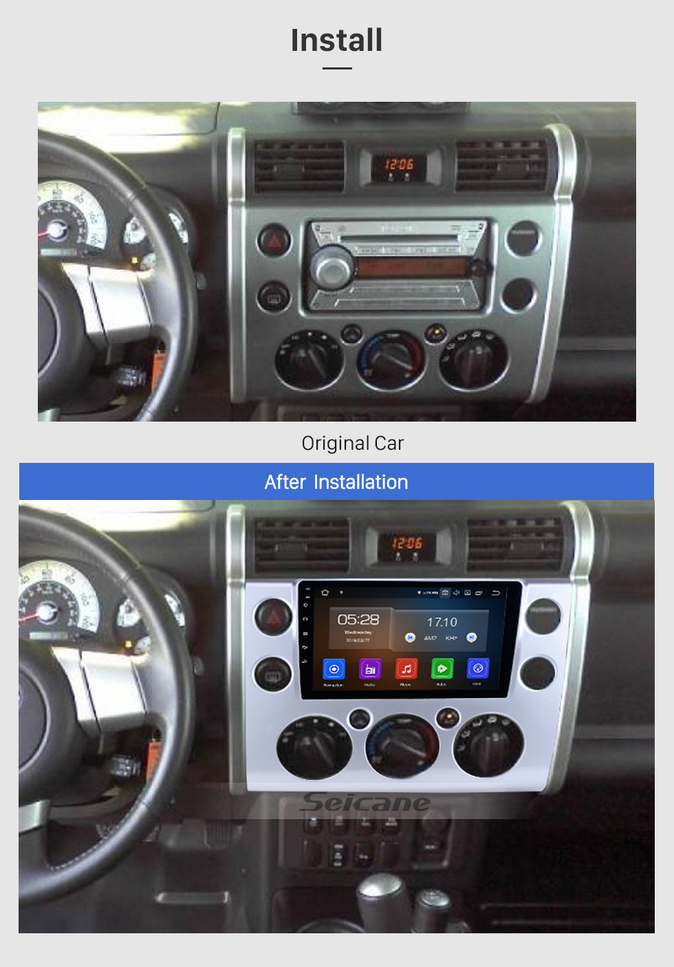 Seicane 9 inch 2007-2018 Toyota FJ CRUISER Android 9.0 HD Touchscreen GPS Navigation System auto stereo Bluetooth Support 3G/4G WIFI Steering Wheel Control Vedio Carplay  DVR