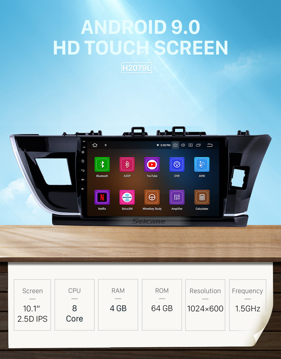 Seicane 10.1 inch Android 9.0 HD touchscreen Radio GPS Navigation System for 2014 Toyota Corolla RHD Bluetooth Rearview camera TV 1080P 4G WIFI Steering Wheel Control Mirror link