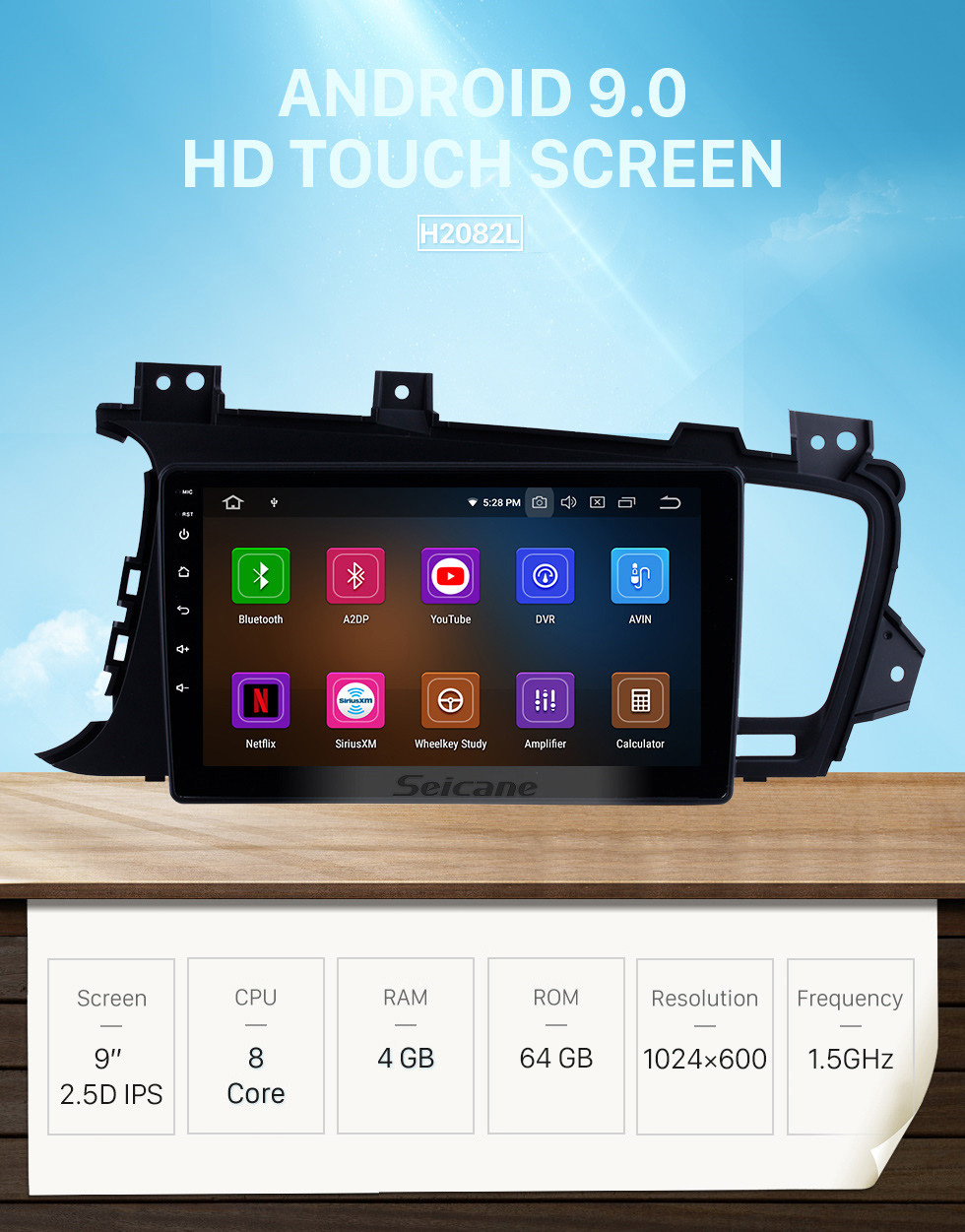 Seicane 9 inch HD Touchscreen Android 9.0 Radio for 2011 2012 2013 2014 Kia k5 LHD with GPS Navigation Bluetooth USB Music 3G WIFI OBDII Mirror Link Steering Wheel Control