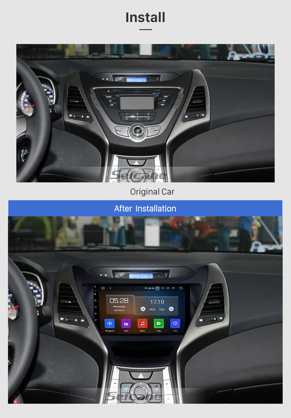 Seicane 9 inch Android 9.0 HD Touch Screen Radio for 2014-2015 Hyundai Elantra with GPS Navigation system Bluetooth USB WIFI OBD2 TPMS Mirror Link Rearview Camera