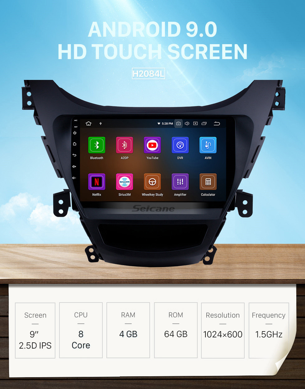 Seicane 9 inch Android 9.0 DVD GPS Stereo for2011 2012 2013 Hyundai Elantra with Radio Bluetooth Music Mirror Link OBD2 Backup Camera Steering Wheel Control