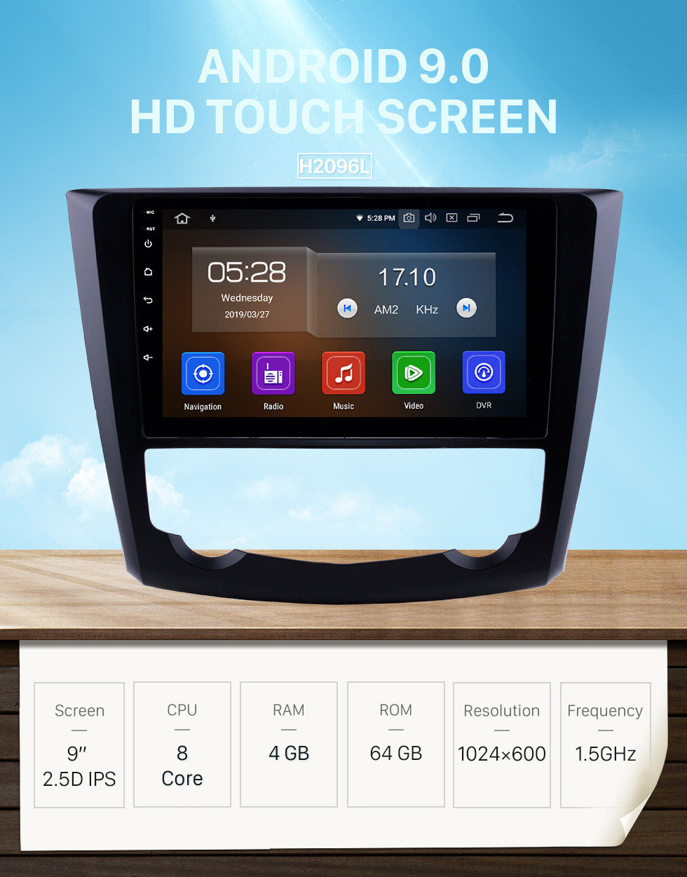 Seicane 9 inch Android 9.0 HD Touch Screen Car Stereo Radio Head Unit for 2016-2017 Renault Kadjar Bluetooth Radio WIFI DVR Video USB Mirror link OBD2 Rearview camera Steering Wheel Control