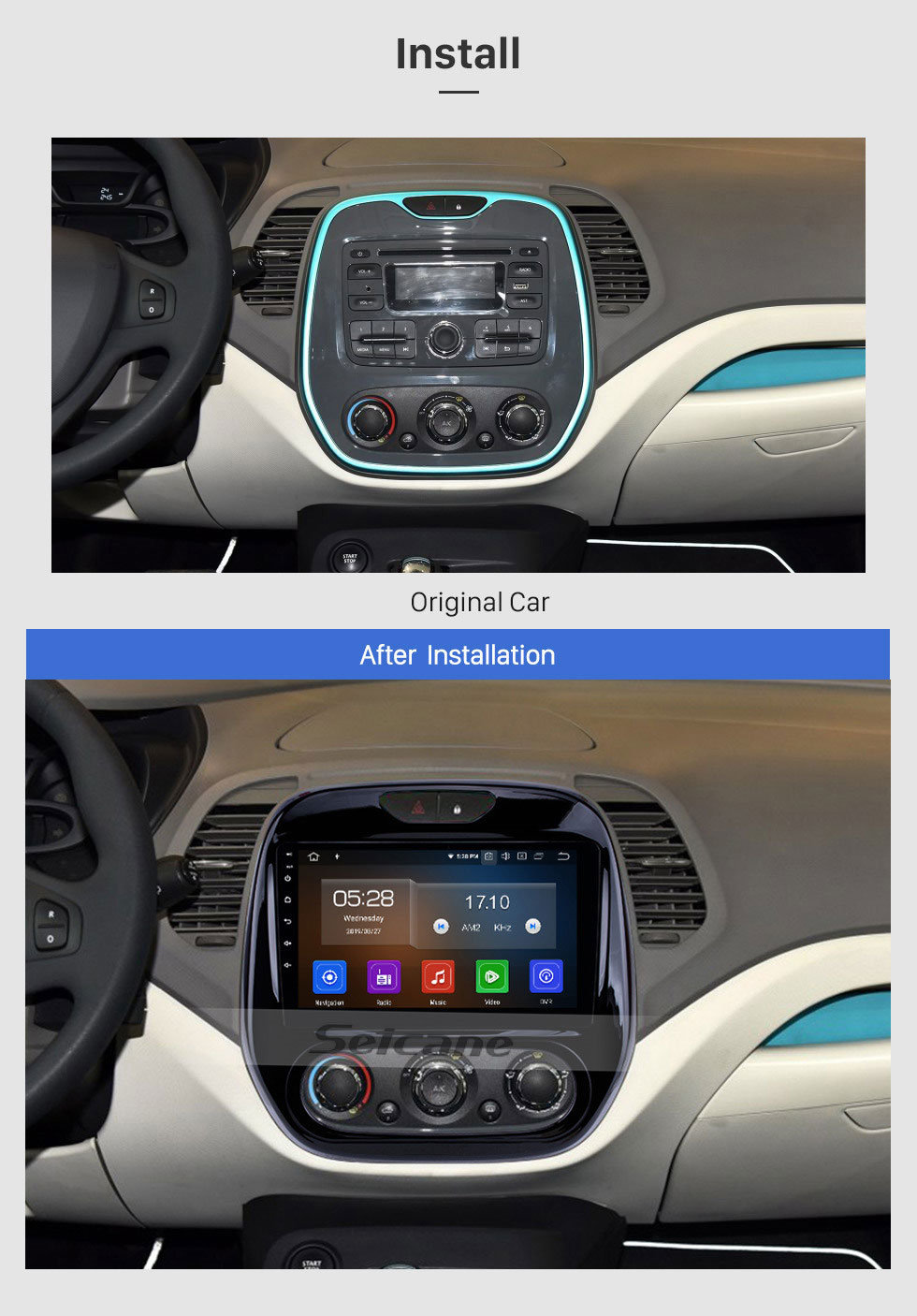 Seicane 9 inch Android 9.0 HD Touch Screen Head Unit GPS Navigation System for 2011-2016 Renault Captur CLIO Samsung QM3 Manual A/C Bluetooth Radio WIFI DVR Video USB Mirror link