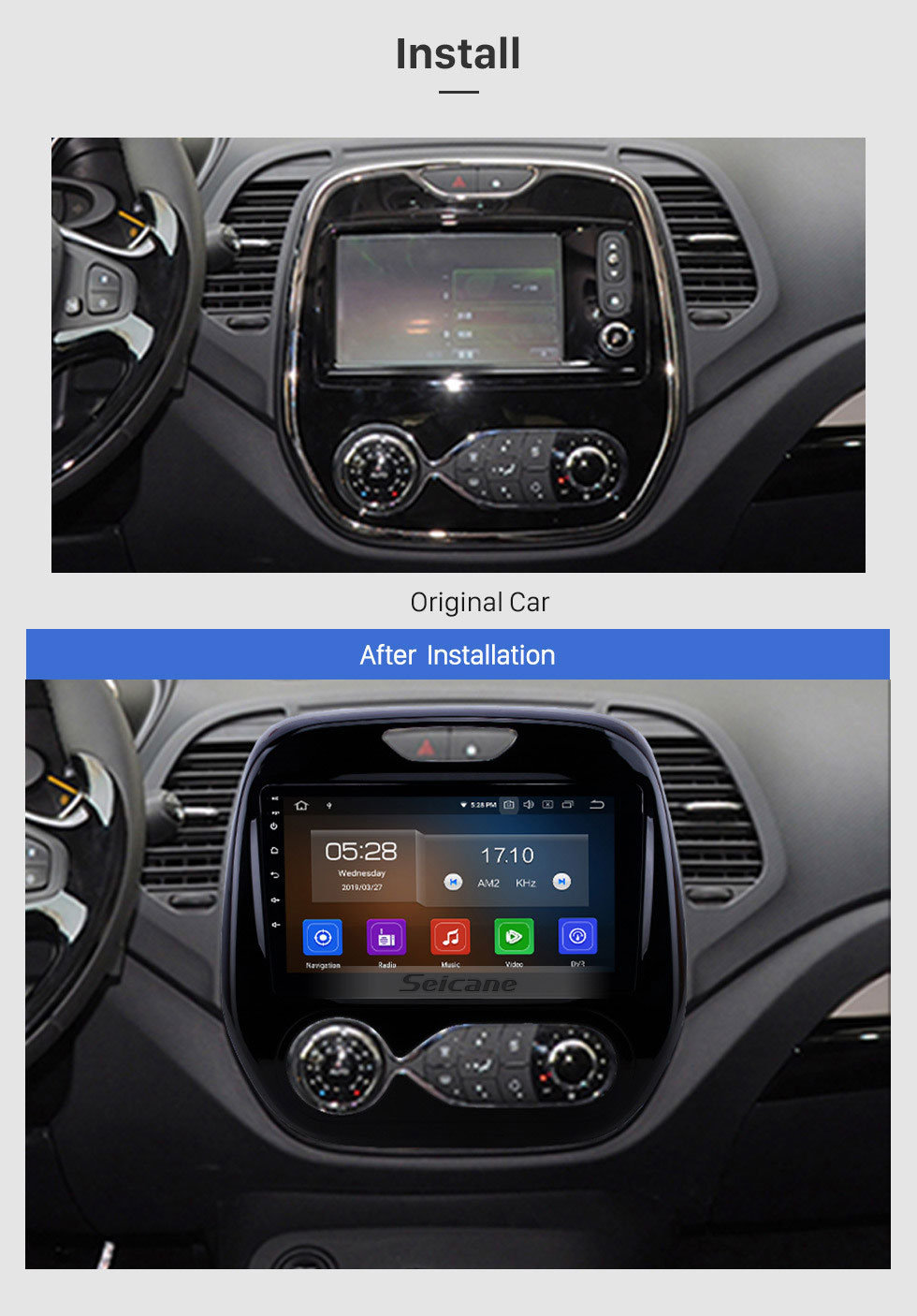 Seicane Android 9.0 9 inch 2011-2016 Renault Captur CLIO Samsung QM3 Auto A/C Radio GPS Navigation Bluetooth Stereo with Audio system 1080P Video USB WIFI Mirror Link Aux