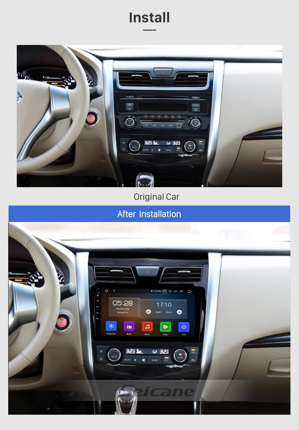 Seicane 9 inch  Android 9.0 2013 2014 2015 2016 2017 NISSAN TEANA Bluetooth GPS Navigation System with HDTouch Screen 3G WiFi  AUX Steering Wheel Control USB 1080P support TPMS DVR OBDII Rear Camera