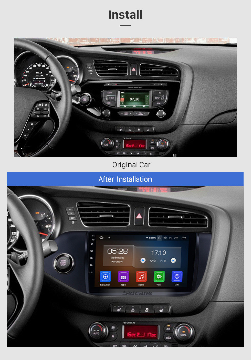 Seicane OEM 2012 2013 2014 Kia Ceed (LHD) 9 inch Android 9.0 GPS Navigation Bluetooth Car Radio Support CD DVD Player Backup Camera DAB+ DVR OBD2 Mirror Link WIFI USB SD Steering Wheel Control