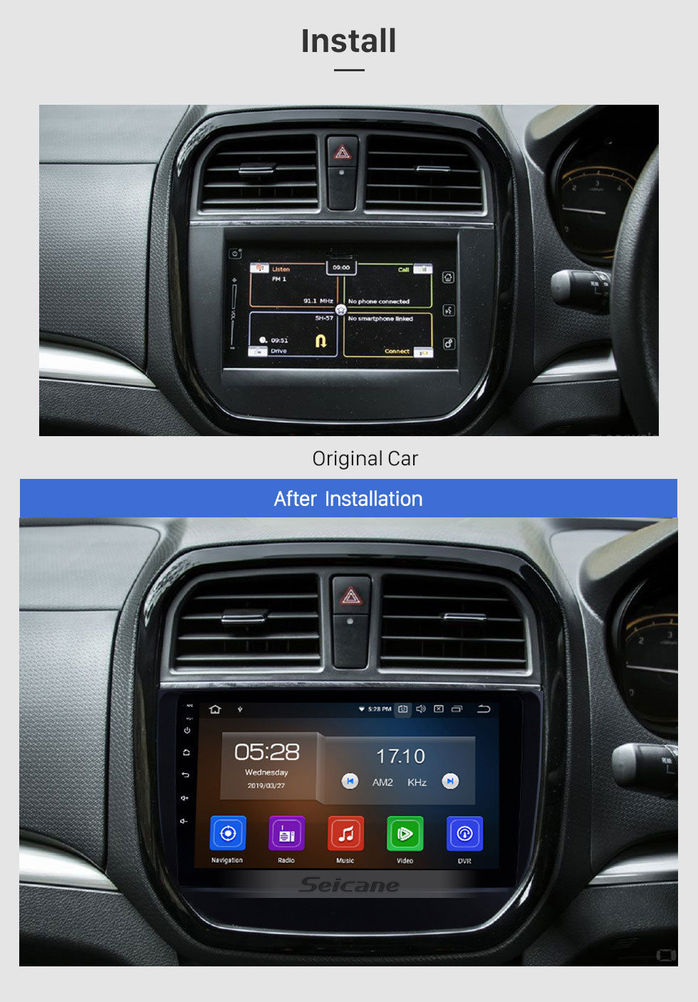 Seicane 2016 2017 2018 Suzuki BREZZA 9 inch IPS Touchscreen Android 9.0 Radio GPS Navigation Steering Wheel Control Auto Stereo with Bluetooth Wifi USB support Carplay DVD Player 4G DVR