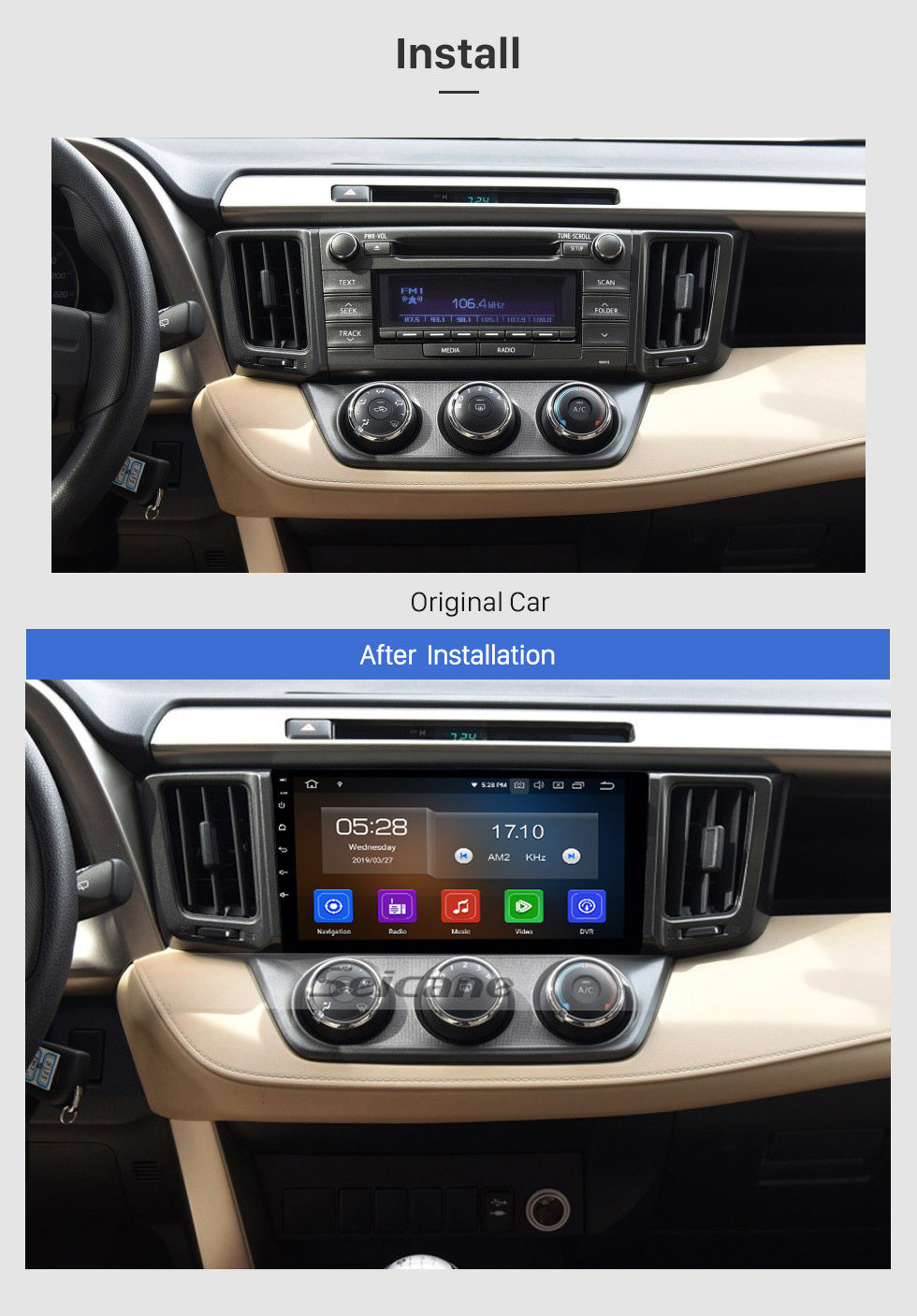 Seicane 2013-2018 Toyota RAV4 Left hand driving Android 9.0 9 inch GPS Navigation HD Touchscreen Radio WIFI Bluetooth USB AUX support DVD Player SWC 1080P Rearview Camera OBD TPMS Carplay