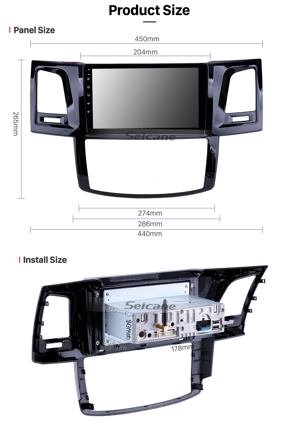 Seicane OEM 9 inch Android 9.0 GPS Navigation Radio for 2008-2014 Toyota Fortuner/Hilux Bluetooth HD Touchscreen Carplay USB support DVR Digital TV