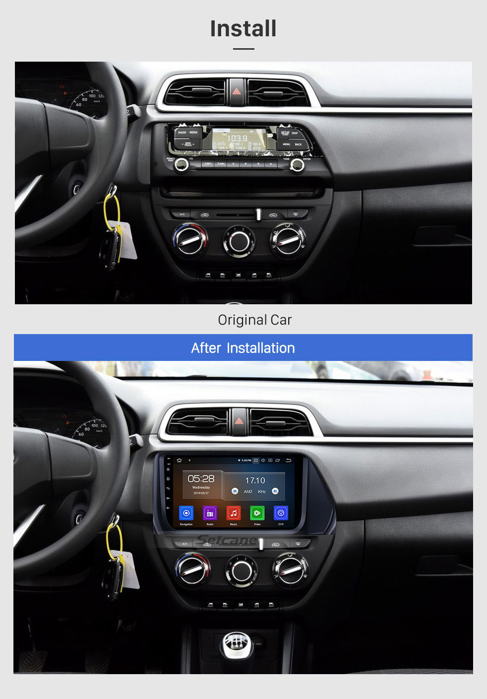 Seicane 2017 Hyundai VERNA 9 inch Android 9.0 Bluetooth Radio with GPS Navigation Wifi Mirror Link USB Steering Wheel Control support Wireless Rearview Camera OBD2 DAB+ DVR